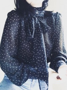Black Polka Dot Print Bow Buttons Band Collar Elegant Blouse