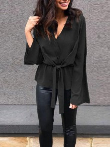 Black Sashes Irregular V-neck Long Sleeve Fashion Blouse