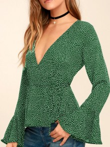 Green Polka Dot Sashes Bodycon Deep V-neck Flare Sleeve Casual Going out Blouse