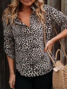 Coffee Leopard Buttons Turndown Collar Fashion Blouse