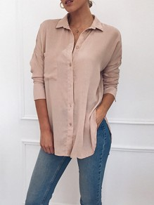 Pink Pockets Single Breasted Turndown Collar Long Sleeve Blouse