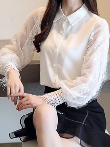 White Patchwork Lace Buttons Turndown Collar Elegant Blouse