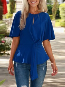 Blue Patchwork Cut Out Belt Elbow Sleeve Fashion Blouse