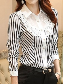 Black-White Striped Patchwork Lace Buttons Single Breasted Turndown Collar Long Sleeve Elegant Blouse