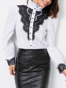 White Patchwork Lace Ruffle Single Breasted Band Collar Long Sleeve Elegant Blouse