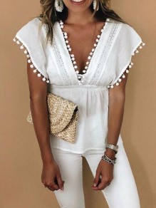 White Patchwork Lace Cut Out Backless Deep V-neck Peplum Blouse
