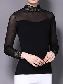 Black Patchwork Grenadine Lace Band Collar Long Sleeve Blouse