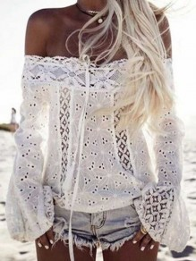 White Lace Drawstring Tassel Off Shoulder Flare Sleeve Blouse
