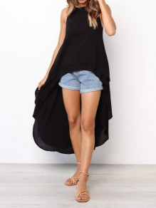 Black Ruffle High-low Round Neck Sleeveless Fashion Blouse
