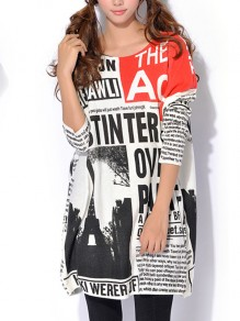 White Newspaper Letters Pattern Long Pullover Sweater Streetwear Skirt T-Shirt