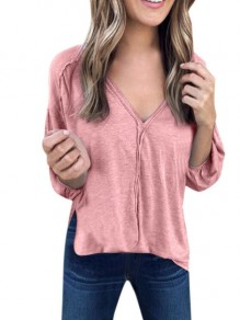 Pink Patchwork Solid Puff Sleeve V-Neck Long Sleeve Casual Fashion Blouses