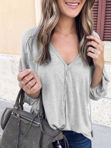 Light Grey Patchwork Solid Puff Sleeve V-Neck Long Sleeve Casual Fashion Blouses