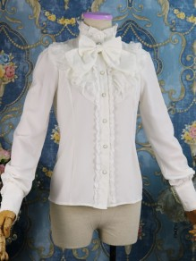 White Patchwork Lace Bow Ruffle Lolita Band Collar Long Sleeve Vintage Blouse