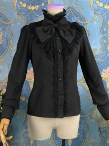 Black Patchwork Lace Bow Ruffle Lolita Band Collar Long Sleeve Vintage Blouse