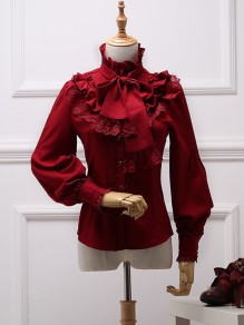Wine Red Patchwork Lace Bow Ruffle Lolita Band Collar Long Sleeve Elegant Vintage Blouse