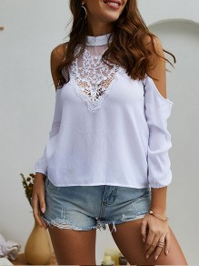 White Patchwork Lace Cut Out Band Collar Long Sleeve Elegant Blouse