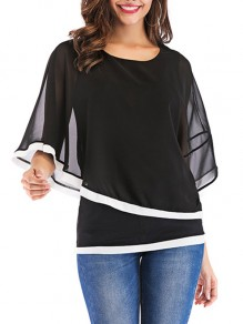 Black Patchwork False 2-in-1 Dolman Sleeve Fashion Blouse