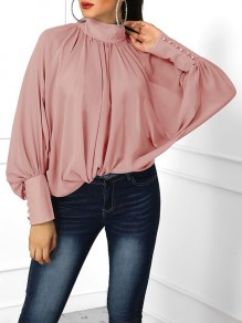 Pink Pleated Buttons Band Collar Dolman Sleeve Blouse