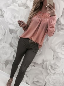 Pink Patchwork Lace Buttons Round Neck Long Sleeve Fashion Blouse