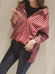 Red-White Striped Pockets Irregular Buttons Single Breasted Turndown Collar Long Sleeve Fashion Blouse