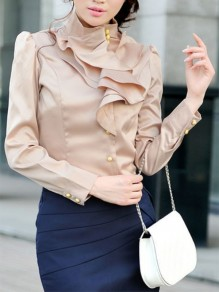 Beige Buttons Ruffle Collar Long Sleeve Elegant Blouse