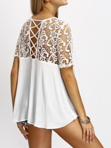 White Patchwork Lace Draped Cross Back Elbow Sleeve Fashion Blouse