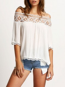 White Patchwork Lace Draped Chiffon Boat Neck Elbow Sleeve Going out Blouse