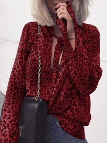 Red Leopard Print Lace-up Round Neck Long Sleeve Fashion Blouse