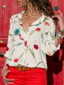 Beige Floral Print Single Breasted Turndown Collar Long Sleeve Elegant Casual Blouse