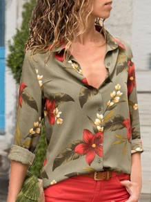 Army Green Floral Print Single Breasted Turndown Collar Long Sleeve Fashion Blouse