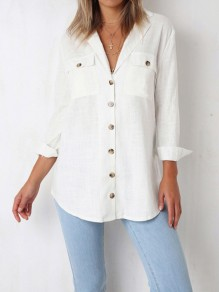White Single Breasted Pockets Tailored Collar Long Sleeve Fashion Blouse