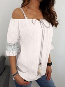 White Patchwork Lace Drawstring Lace-up Off Shoulder Short Sleeve Going out Blouse