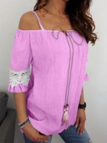 Purple Patchwork Lace Drawstring Lace-up Off Shoulder Short Sleeve Going out Blouse