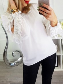 White Patchwork Lace Cut Out Round Neck Long Sleeve Going out Blouse