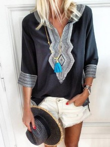 Black Tribal Print V-neck Three Quarter Length Sleeve Beach Bohemian Blouse