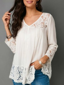 White Patchwork Lace Single Breasted V-neck 3/4 Sleeve Elegant Blouse