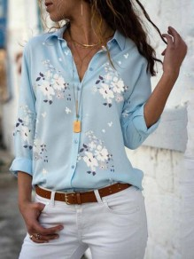 Blue Floral Print Single Breasted Turndown Collar Long Sleeve Fashion Blouse
