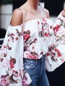White Floral Print Off Shoulder Long Flare Sleeve Ladies Blouses