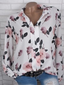 White Floral Buttons V-neck Long Sleeve Going Out Casual Elegant Blouse