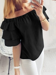 Black Cascading Ruffle Off Shoulder Short Sleeve Going out Blouse