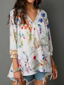 White Floral Print Irregular V-neck Three Quarter Length Sleeve Fashion Blouse
