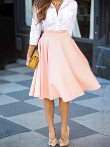 Pink Plain Draped High Waisted Pleated Retro Flared Full A Line Party Midi Skirt