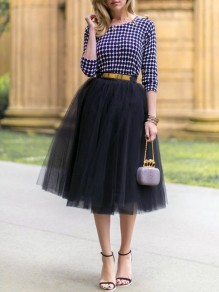 Black Plain Grenadine Draped High Waisted Skirt