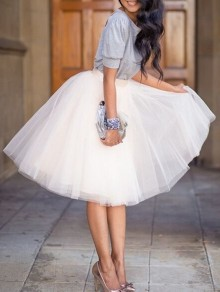 White Plain Draped Grenadine New Fashion Latest Women Puffy Tulle High Waisted Knee Length Adorable Tutu Skirt