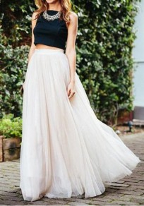 White Plain Grenadine Elastic Waist Mid-rise Fashion Skirt