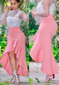 Pink Ruffle Irregular Mermaid Elastic Waist High Waisted Elegant Skirt