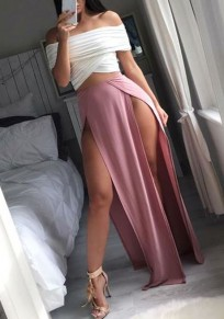 Pink Side Slit Sewing Mid-rise Fashion Loose Skirt