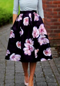 Black Floral Pleated Zipper Sewing Mid-rise Elegant Skirt