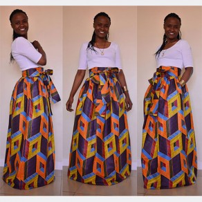 Yellow Floral African Print Pleated Belt Maxi Vintage Skirt