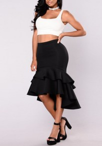 Black Cascading Ruffle High-low Irregular High Waisted Trumpet Homecoming Party Elegant Skirt